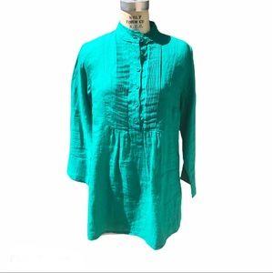 J peterman green mandarin collar linen tunic